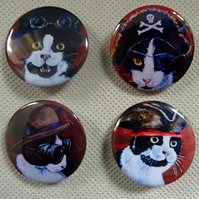 Steampunk Cat Art Badges Buttons Pirate Cosplay