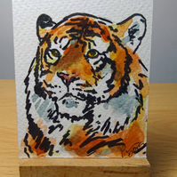 ACEO Animal Art Tiger Glance Original Watercolour and Ink Painting OOAK  Cat