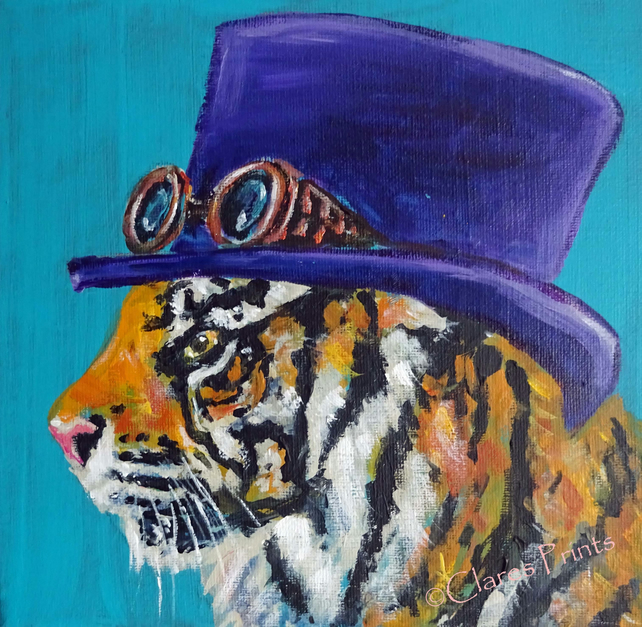 Steampunk Tiger Art Cat Original Acrylic Painting on Canvas OOAK Retro