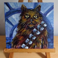 Chewbacca Cat Art Cat Original Acrylic Painting on Canvas OOAK Retro