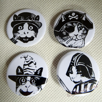 Steampunk Cats Black & White Animal Art Badges Buttons Pirate Cosplay