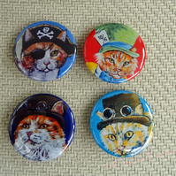 Steampunk Ginger Cats Animal Art Badges Buttons Pirate Cosplay
