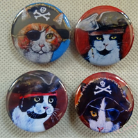 Steampunk Pirate Cats Animal Art Badges Buttons Pirate Cosplay