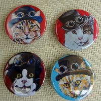 Steampunk Cats Animal Art Badges Buttons Pirate Cosplay
