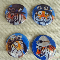 Steampunk Tigers Animal Art Badges Buttons Pirate Cosplay