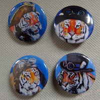 Steampunk Tiger Art Badges Buttons Pirate Cosplay