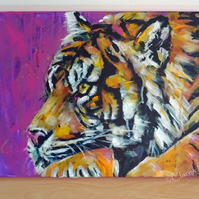 Tiger Painting Art Original Acrylic Animal on Canvas OOAK