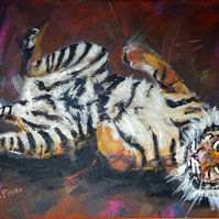 Happy Tiger 2 Painting Art Original Acrylic Animal on Canvas OOAK