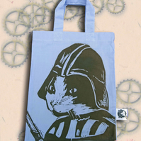 Darth Vadar Cat Tote Hand Printed Lilac Mini Tote Shopping Bag