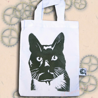 Black Cat Bag Cream Lino-Printed Hand Printed Mini Tote Shopping Bag Children