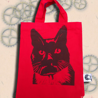 Black Cat Bag Red Lino-Printed Hand Printed Mini Tote Shopping Bag Children
