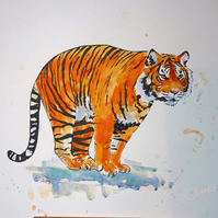 Tiger Pounce Art Original Watercolor Animal Painting Cat