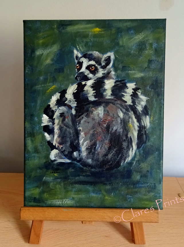Ring Tailed Lemur Art Original Acrylic Painting on Canvas OOAK