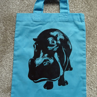 Hippo Bag Blue Lino-Printed Hand Printed Mini Tote Shopping Bag Children
