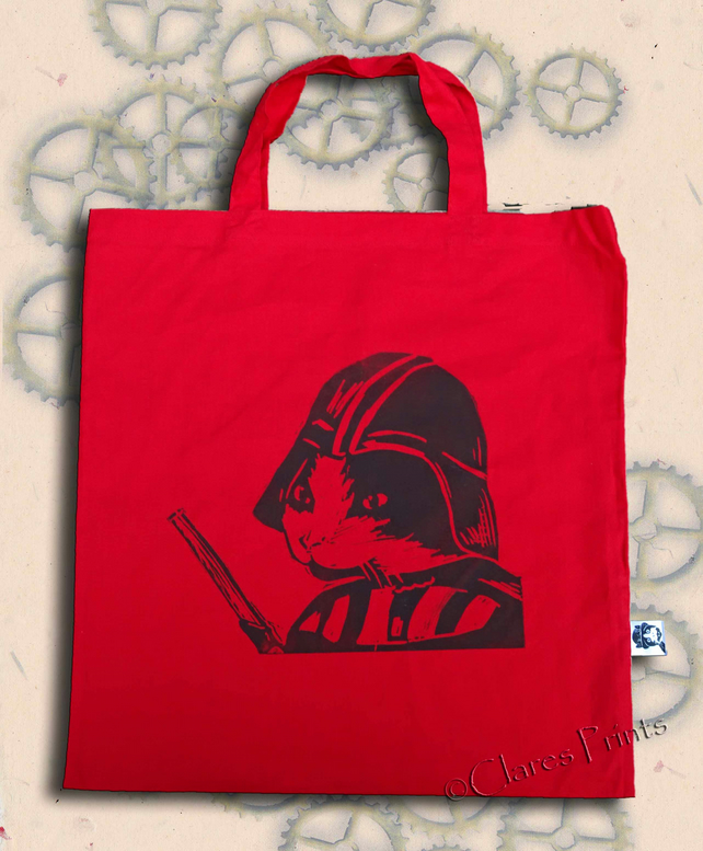 Darth Vadar Cat Tote Animal Linocut Hand Printed Red Shopping Bag