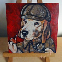 Steampunk Sherlock Dog Beagle Original Art Acrylic Painting on Canvas Retro