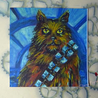 Chewbacca Cat Art Greeting Card From Original Painting Star Wars