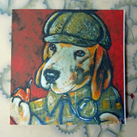 Sherlock Beagle Dog Art Greeting Card From Original Painting