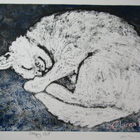 Sleepy Cat Blue Limited Edition Original Collagraph Print Art Cat