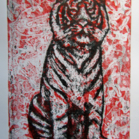 Tiger Sit Limited Edition Original Collagraph Print Art Cat