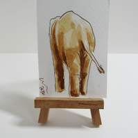 ACEO Art Elephant Bum Original Watercolour & Ink Painting OOAK