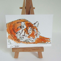 ACEO Animal Art Resting Tiger Original Watercolour Ink Painting OOAK