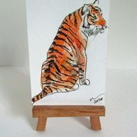 ACEO Art Sitting Tiger Original Watercolour & Ink Painting OOAK