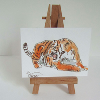 ACEO Art Angry Tiger Original Watercolour & Ink Painting OOAK