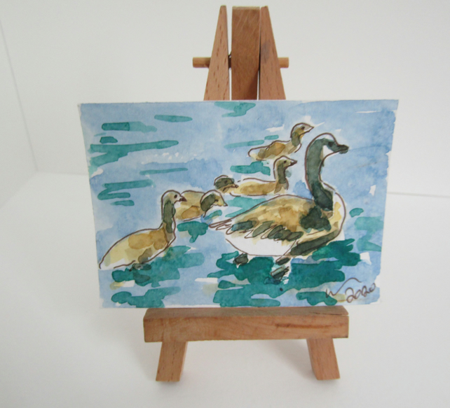 ACEO Art Goslings Swim Original Watercolour & Ink Painting OOAK