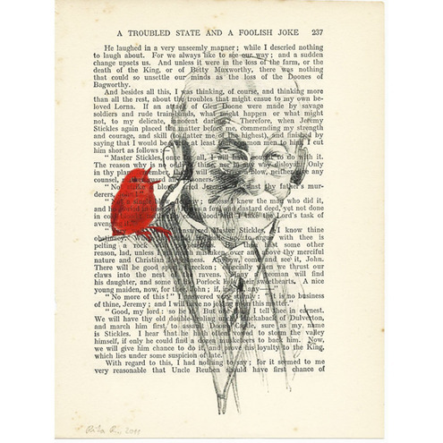 Man with Red Bird and Headphones: mixed media on vintage book page Rita Reverie