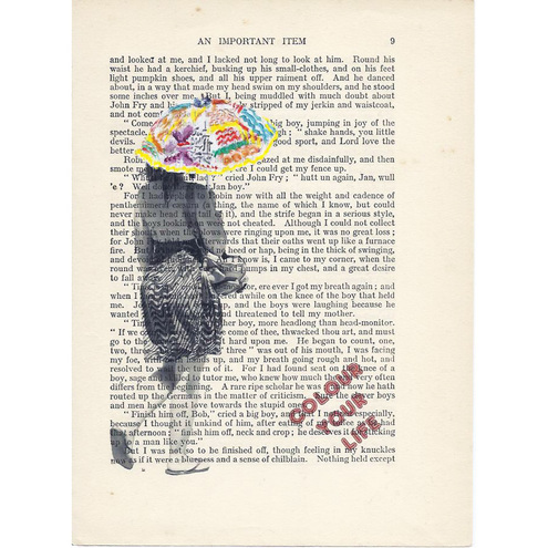 Colour Your Life! original mixed media on vintage book page by Rita Reverie