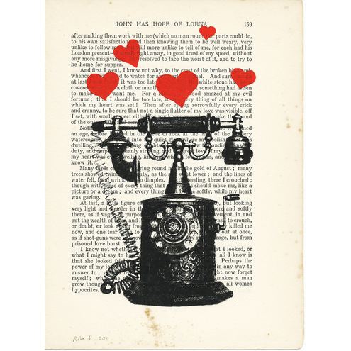 Vintage Telephone with Red Love Hearts -  on 1873 vintage book page
