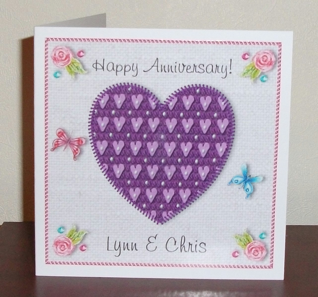 Anniversary card, Purple heart on digital linen background, tapestry style