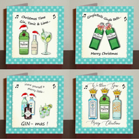 Gin themed Christmas cards set of 4