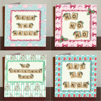 Seasonal Christmas cards set of 4 with digital scrabble letters