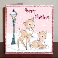 Set of 4 Bambi Christmas cards in pink