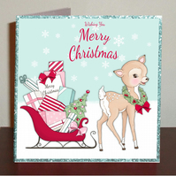 Set of 4 Bambi Christmas cards in blue