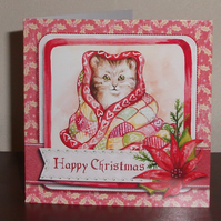 Cosy Cat in blankets Christmas card, with hand cut decoration and glitter