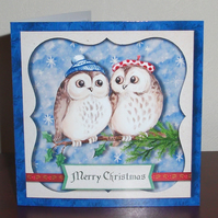 Two cute Owls decoupage Christmas card, with hand cut decoration & glitter