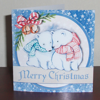 Christmas card with Cosy Polar bears in scarves