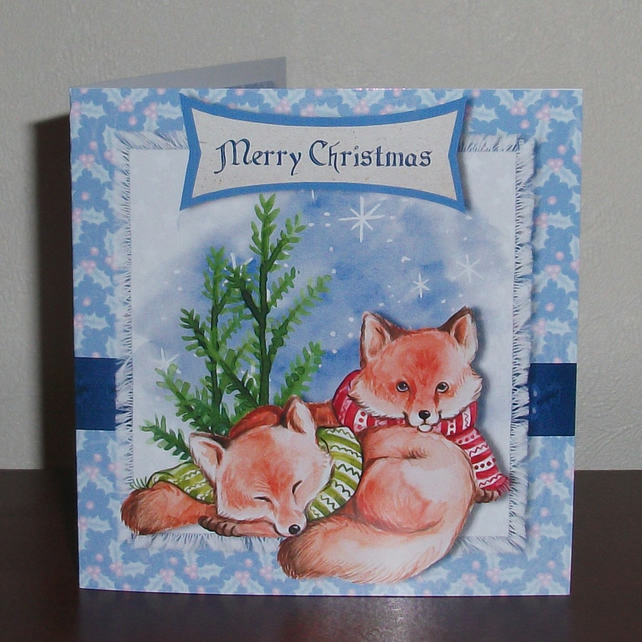 Two Foxes snuggling up Christmas card, with hand cut decoration and glitter