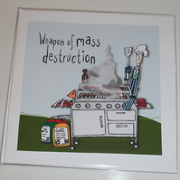 Male birthday card, bloke birthday card, weapon of mass destruction bbq card,