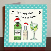 Gin themed Christmas card Gin tonic and lime