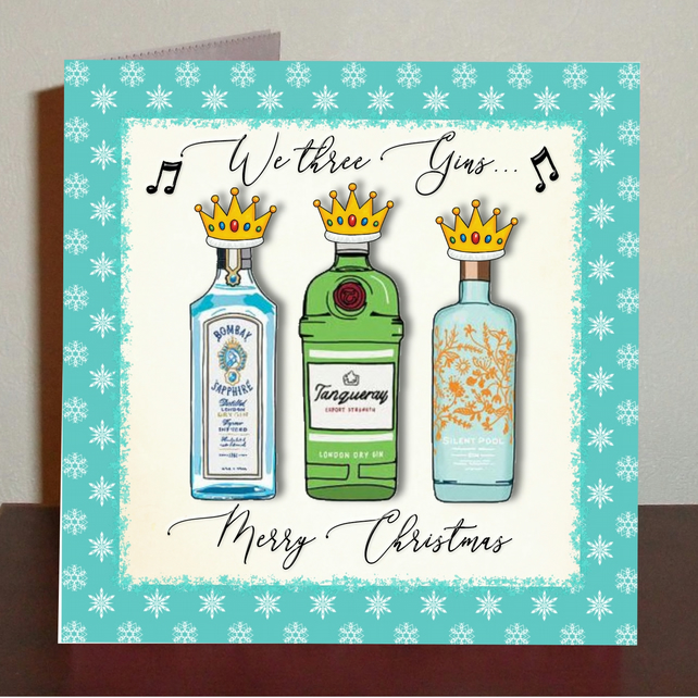 Gin themed Christmas card We three gins