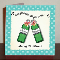 Gin themed Christmas card Gin-gle bells