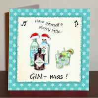 Gin themed Christmas card Have yourself a merry little gin-mas