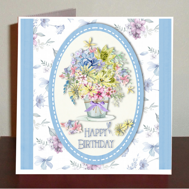 Female birthday card with bouquet of flowers