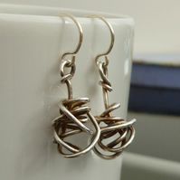 Eco Sterling Silver Wire Twist Dangly Earrings, Oxidised, Xmas gift for her