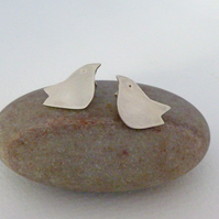 Sterling Silver Folk Art Bird Earrings