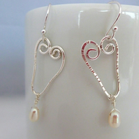 Silver Filigree Wire Heart Earrings With Pearl & Crystal Drop